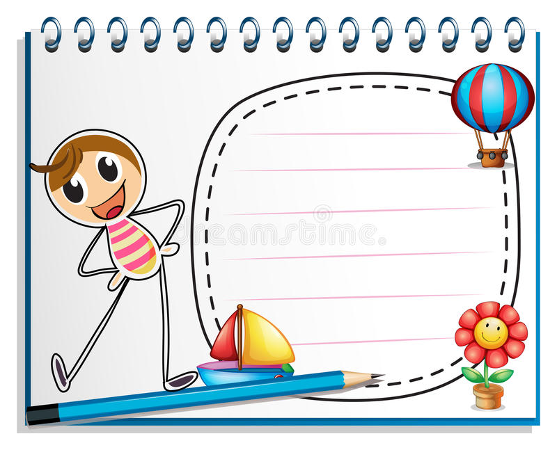 A notebook with a drawing of a person exercising beside an empty royalty free illustration