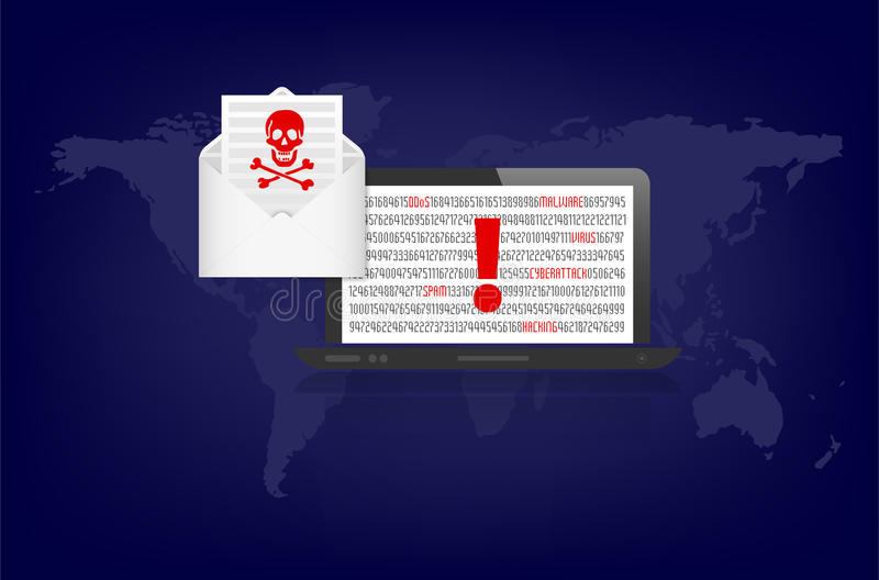 Notebook and envelope with warning of cybercrime danger royalty free illustration