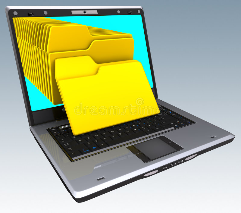 Notebook Files. Several files coming from inside of the screen. Your text on the file
