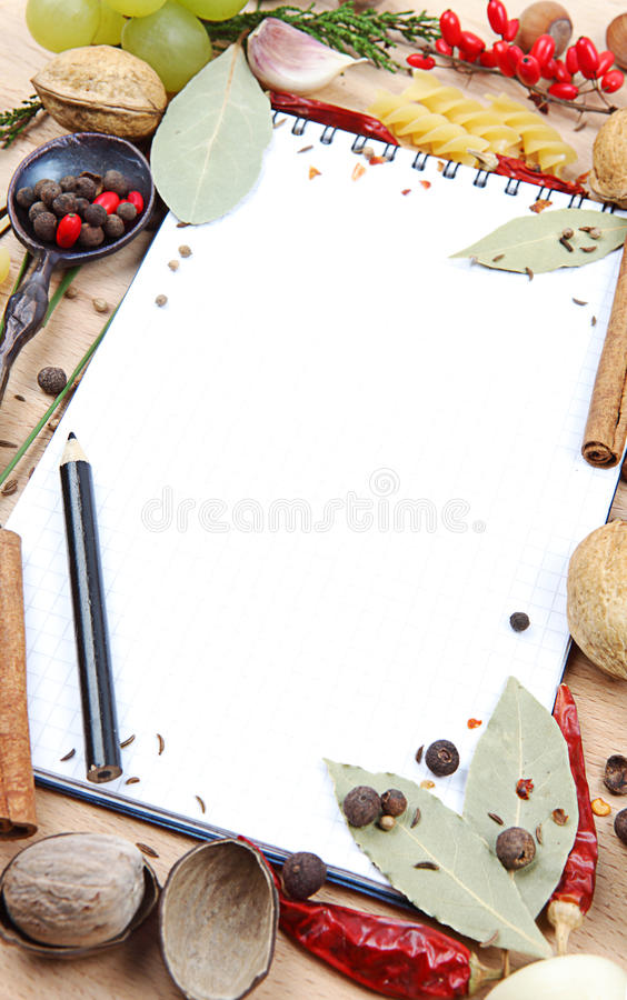 Free Notebook For Recipes And Spices Royalty Free Stock Photo - 27721275