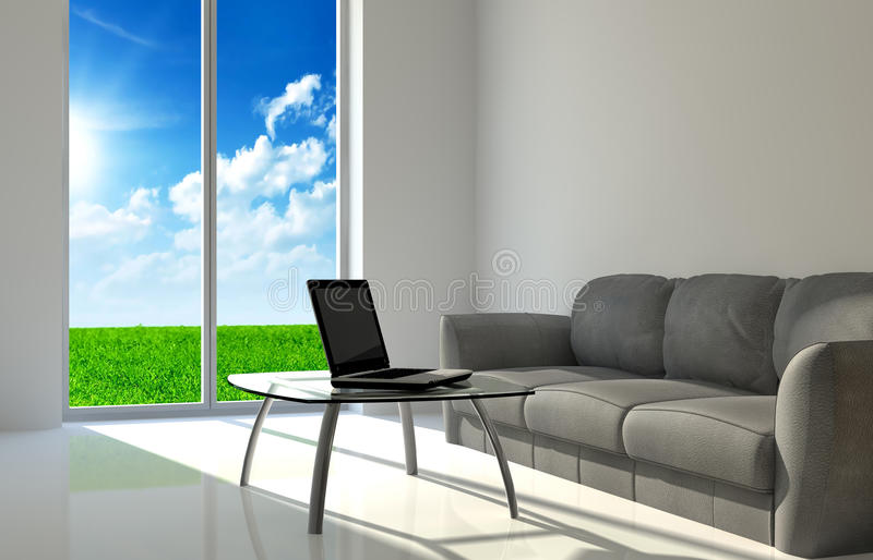 Notebook on a glass table. Notebook on a quiet room and clean weather background vector illustration
