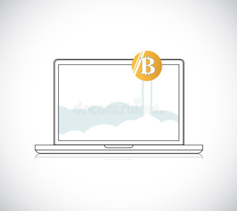 notebook with golden bitcoin illustration. stock illustration