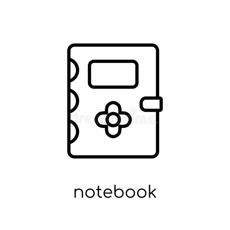 Notebook icon. Trendy modern flat linear vector Notebook icon on royalty free illustration