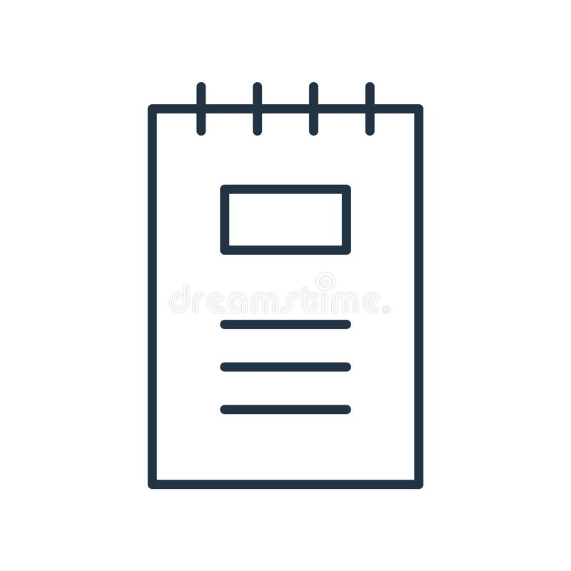 Notebook icon vector isolated on white background, Notebook sign stock illustration