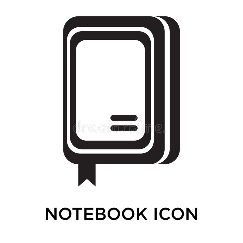 Notebook icon vector sign and symbol isolated on white background, Notebook logo concept stock illustration