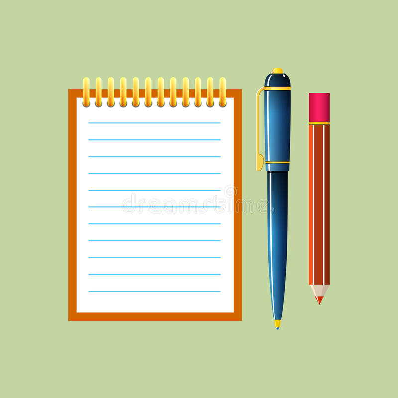 Notebook Isolated on Green Background stock illustration