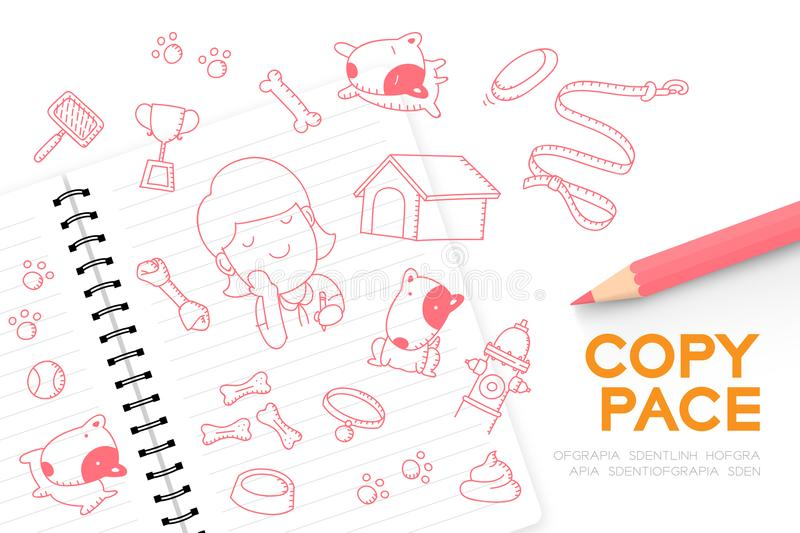 Notebook with kid girl hand drawing set, Imagine of Future Occupation `Dog groomer shop` concept idea illustration royalty free illustration