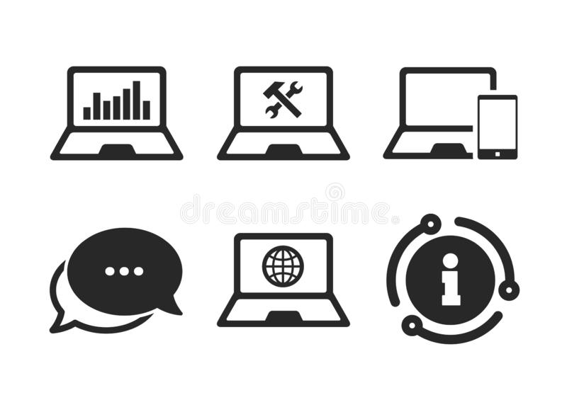 Notebook laptop pc icons. Repair fix service. Vector. Internet globe sign. Chat, info sign. Notebook laptop pc icons. Repair fix service symbol. Monitoring graph stock illustration