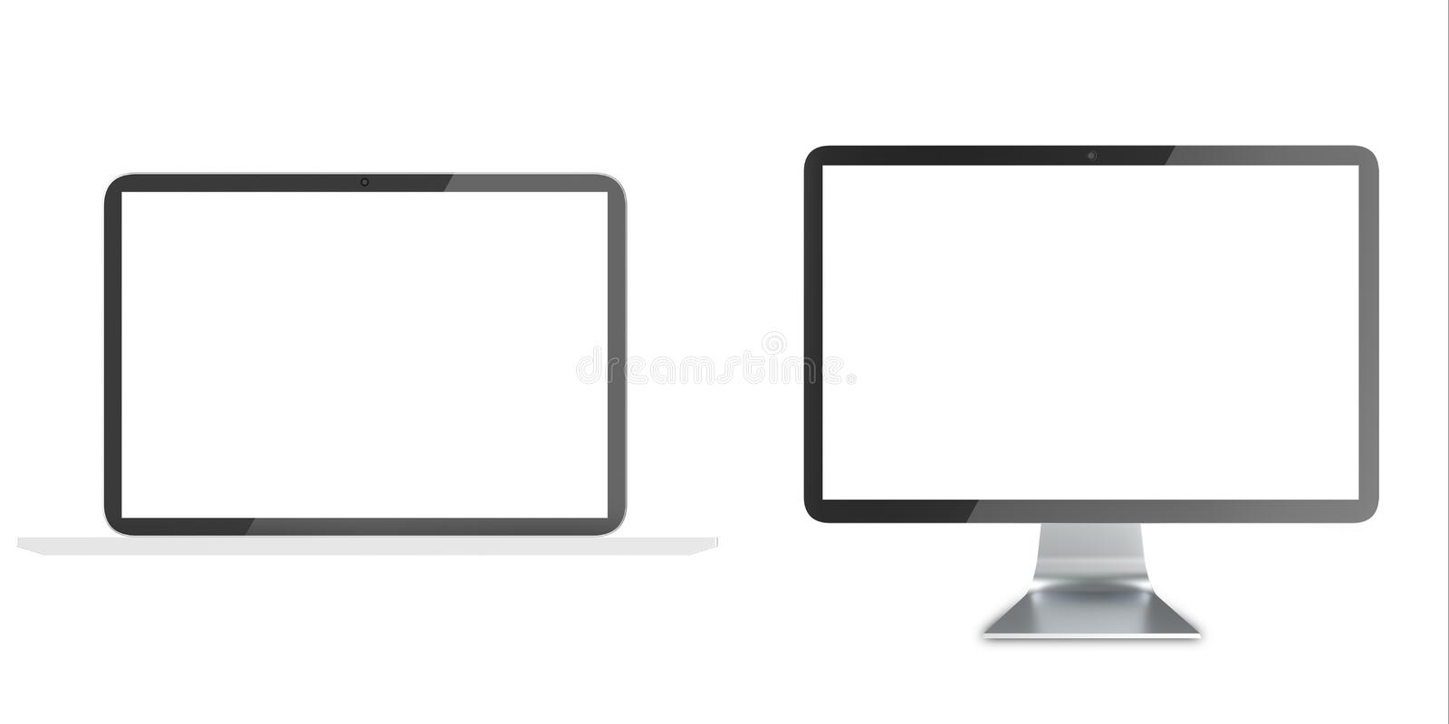 Notebook, Lcd monitor, personal devices with empty LCD screens isolated on white background. royalty free illustration