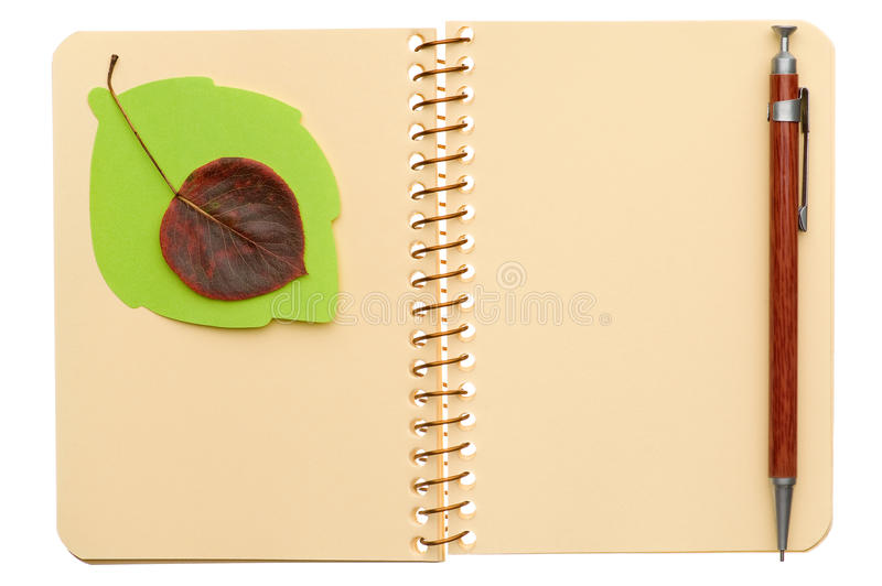 Notebook With Leaf Royalty Free Stock Images