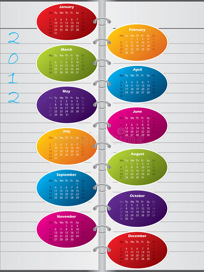 Download Notebook Like Calendar Design For 2012 Stock Vector - Image: 23242953