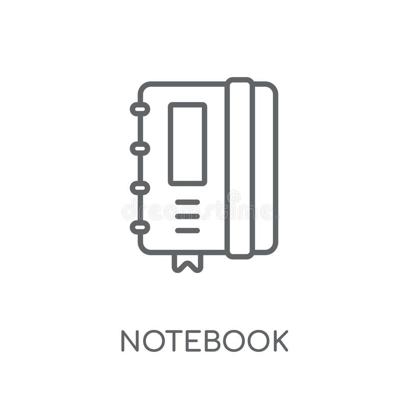 Notebook linear icon. Modern outline Notebook logo concept on wh royalty free illustration