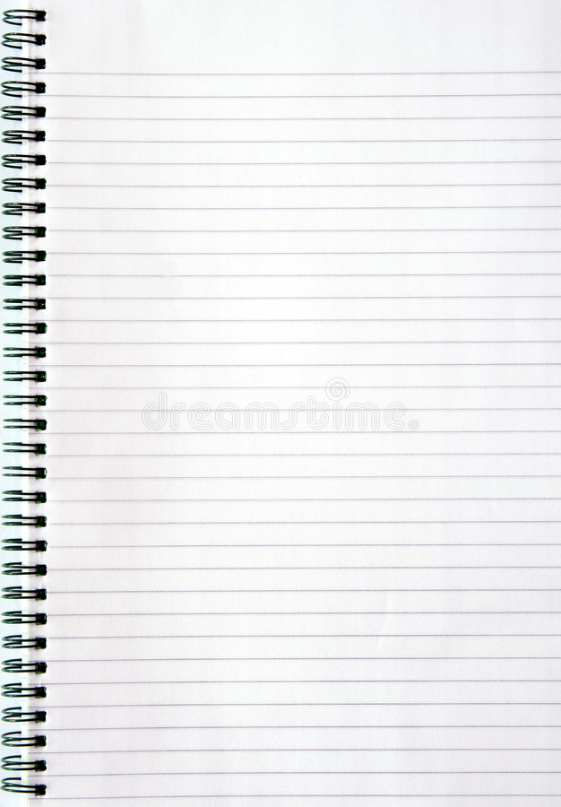 Notebook with lined paper royalty free stock photo