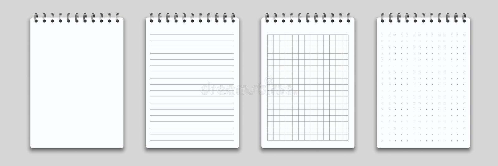 Notebook memo notepad binder. Vector note pad or diary with lined and squared paper page template stock illustration