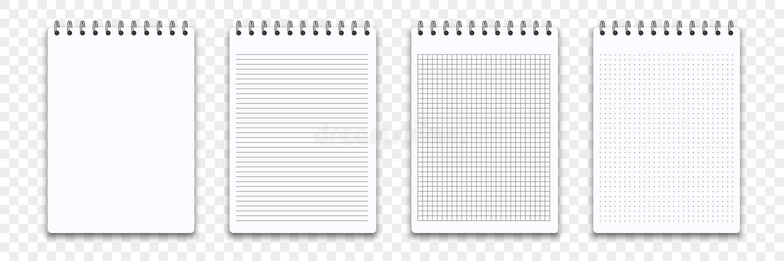 Notebook memo notepad templates. Vector note pad or diary line and square paper page binder royalty free illustration