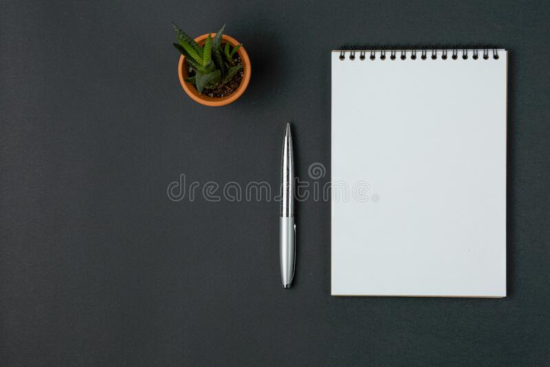 Notebook, pen and green flower on black background. Notebook with a metal pen on a black background, office concept royalty free stock photo