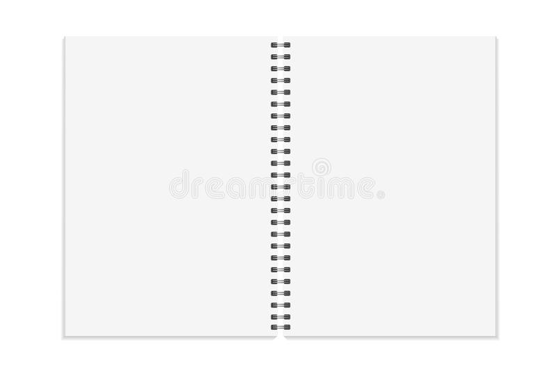 Notebook mock up. Open book, diary with metal spiral template. Isolated on white background. A4 bound pages. Vector. Illustration vector illustration