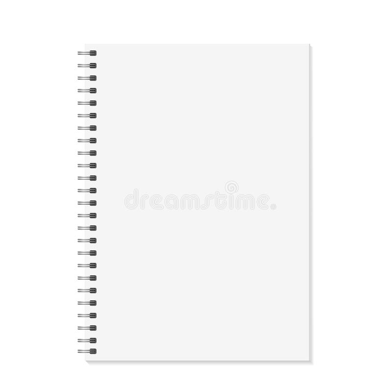 Notebook mock up. Open book with metal spiral template. Isolated on white background. A4 bound pages. Vector stock illustration