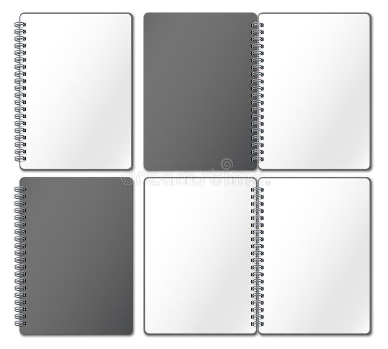 Notebook mockup. Empty copybook, notebooks pages binded on metal spiral and open bound sketchbook realistic 3d vector stock illustration