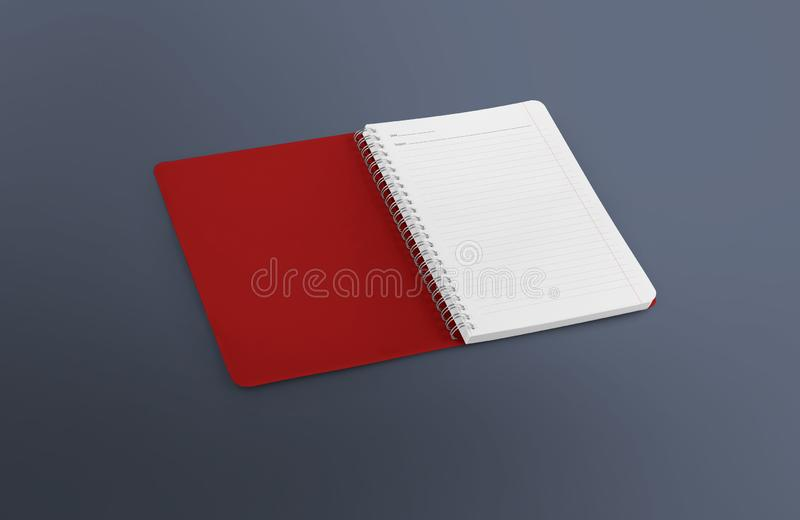 Notebook mockup for your design, image, text or corporate identity details. Vertical blank copybook with metallic silver spiral. royalty free stock image