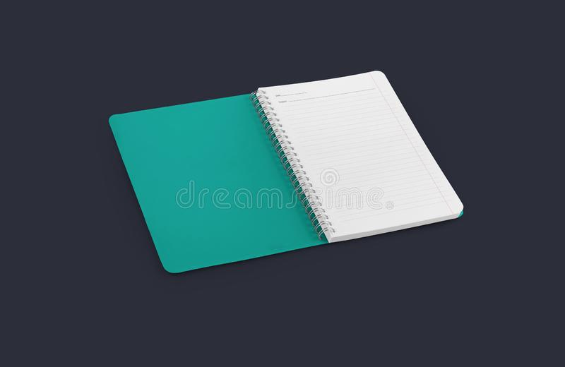Notebook mockup for your design, image, text or corporate identity details. Vertical blank copybook with metallic silver spiral. royalty free stock photography