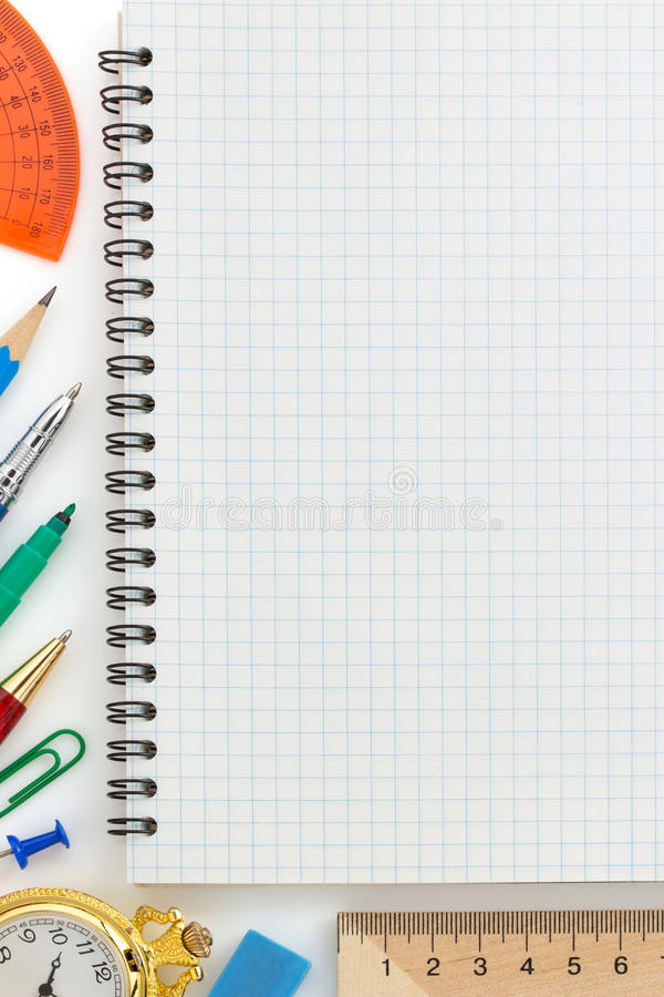 Download Notebook And Office Accessories Stock Photo - Image of protractor, supplies: 39503796