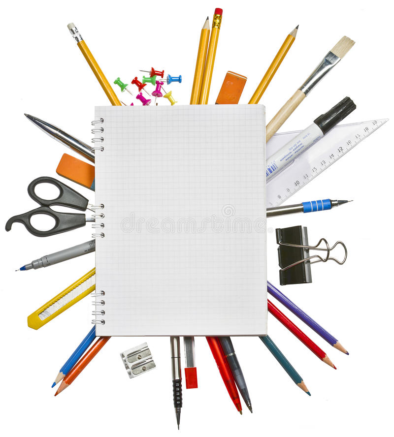 Download Notebook And Office Supplies Stock Image - Image of color, open: 18702733