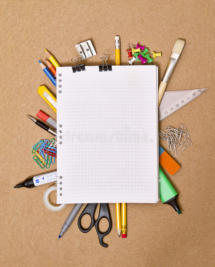 Notebook and office supplies. Closeup stock images