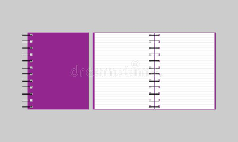 Notebook, open notebook isolated objects. Vector illustration stock illustration