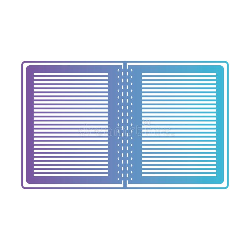 Notebook opened with metal spiral in degraded purple to blue contour vector illustration