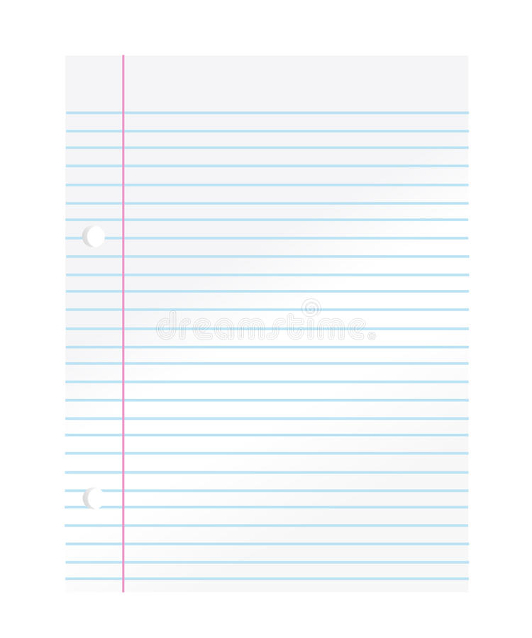 Notebook paper. On white background