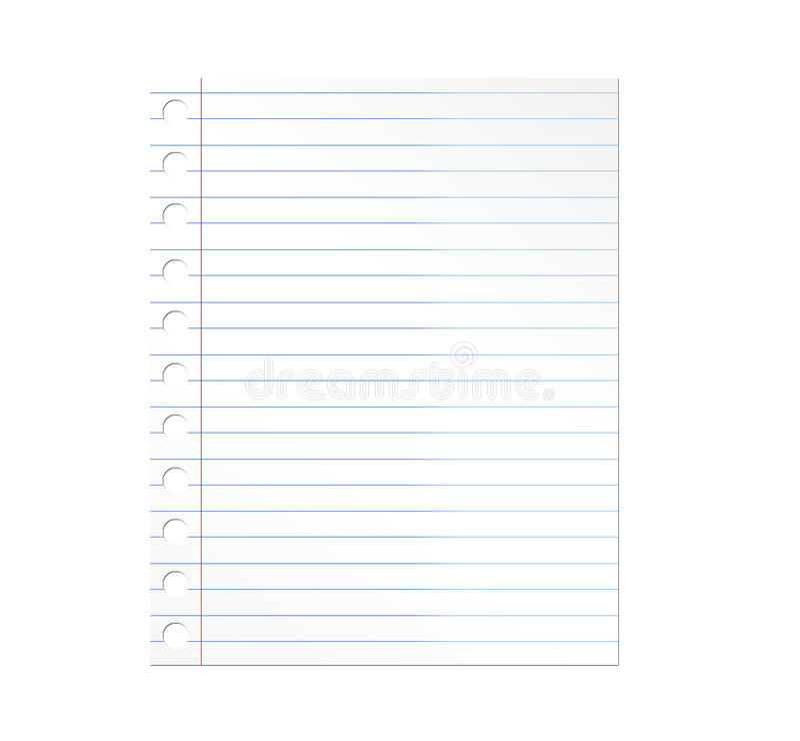 Notebook paper. Illustration over white background. Illustration vector illustration