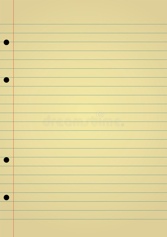 Notebook paper. Editable vector background - yellow notebook paper with space for your text royalty free illustration