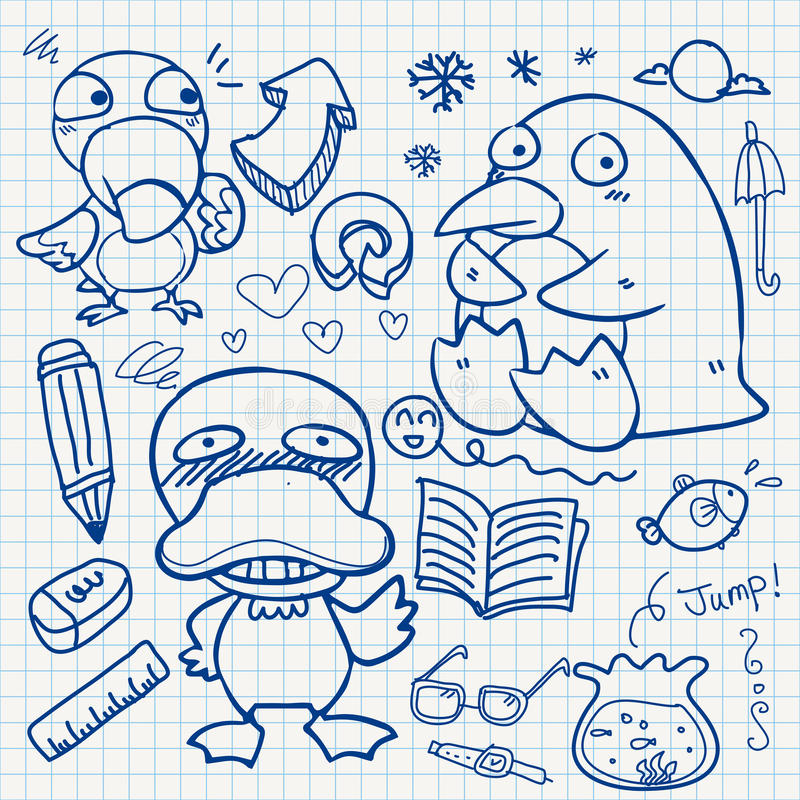 Download Notebook paper doodles stock vector. Image of outline - 32040452