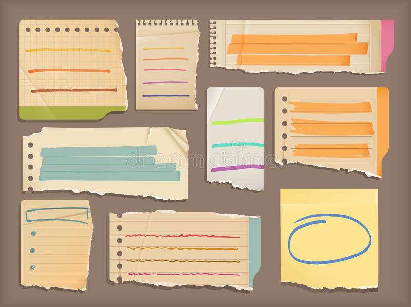 Notebook paper & highlight elements royalty free illustration