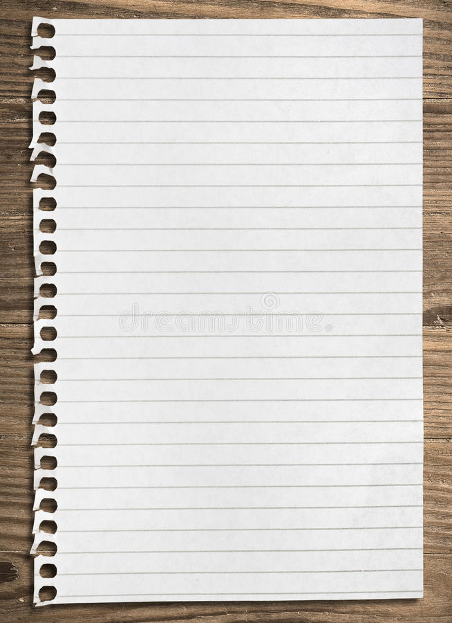 Notebook paper sheet. stock image