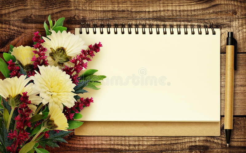 Notebook And Pen With Bouquet Of Flowers Stock Image - Image of book ...