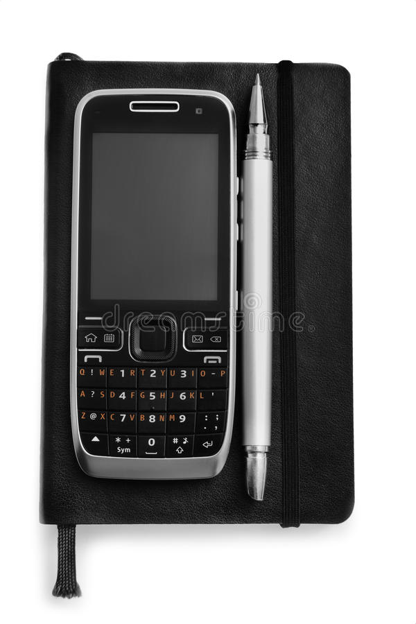 Notebook, pen and cell phone