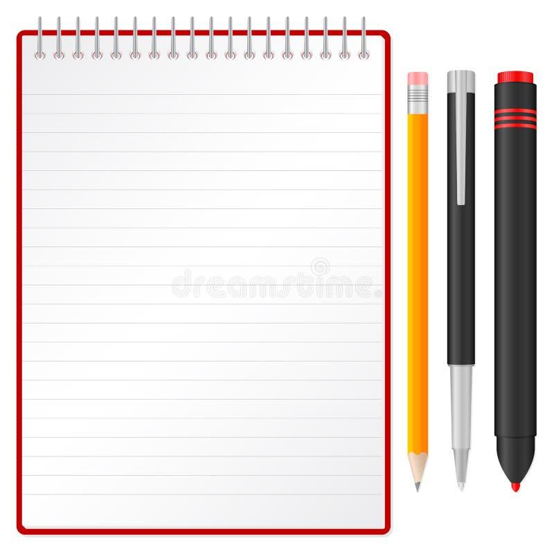 Notebook pen pencil and marker. Pen, pencil, text marker and spiral notepad. Vector illustration vector illustration