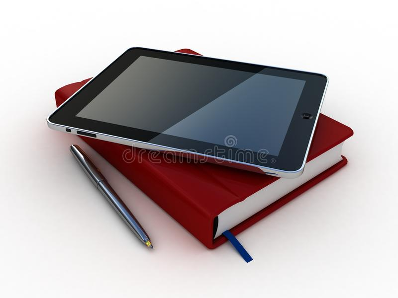 Notebook and pen and tablet. On white background royalty free illustration