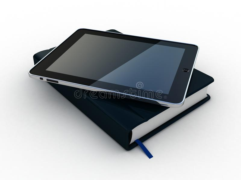 Notebook and pen and tablet. On white background stock illustration