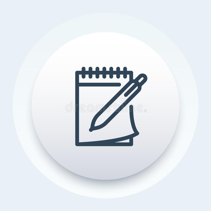 Notebook and pen vector icon in line style stock illustration