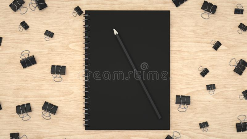 Notebook with pencil and binder clips. Branding mockup. Notebook with pencil and binder clips. 3D rendering illustration vector illustration