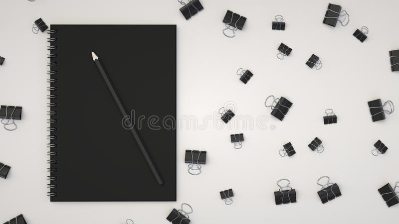 Notebook with pencil and binder clips. Branding mockup. Notebook with pencil and binder clips. 3D rendering illustration royalty free illustration