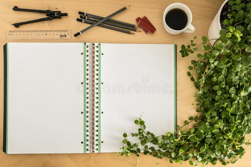 Notebook and pencil case tools royalty free stock image