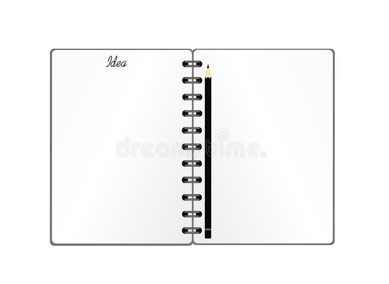 Notebook with a pencil for education, business. Product for a book with paper and concept. Empty space for text. Vector on white. Background stock illustration