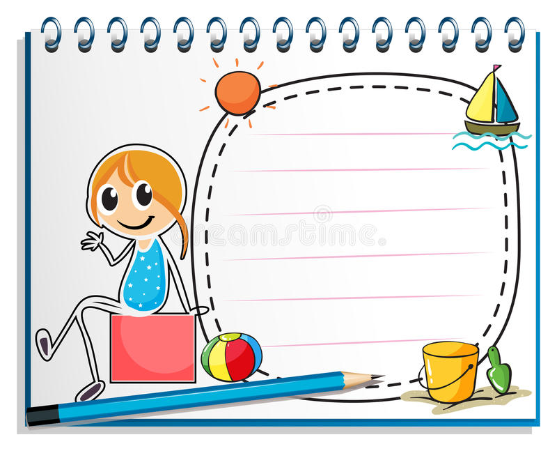 A notebook and a pencil with an image of a girl sitting on a box stock illustration