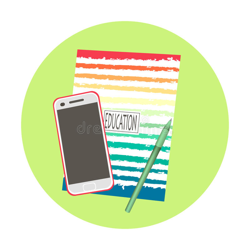 Notebook with phone and pen royalty free stock photo