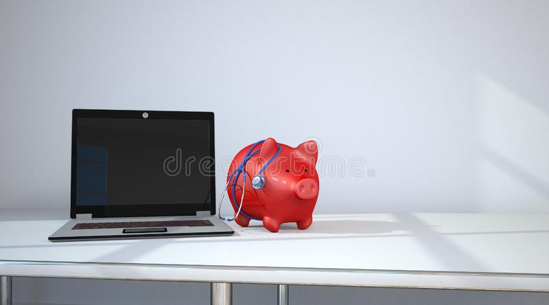 Notebook Piggy Bank Stethoscope. Piggy bank with blue stethoscope and notebook on the table in the room royalty free illustration