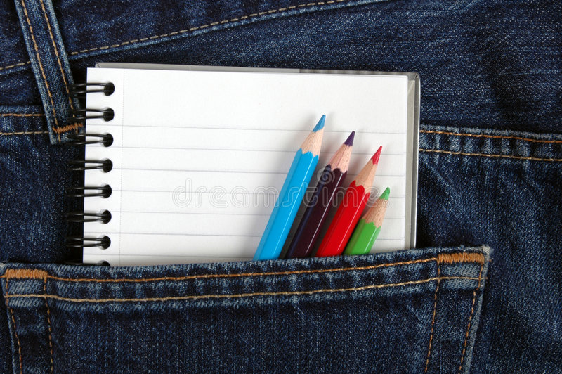 Notebook in Pocket. stock photo